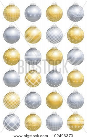 Christmas Balls Gold Silver Pattern