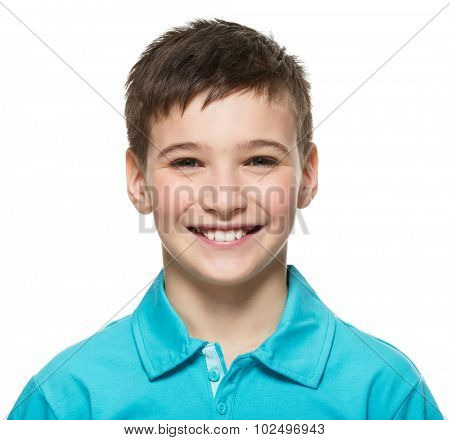 Portrait of  young happy teen boy looking at camera.