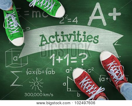 The word activities and casual shoes against green chalkboard