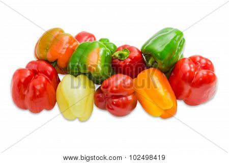 Pile Of A Bell Peppers On A Light Background