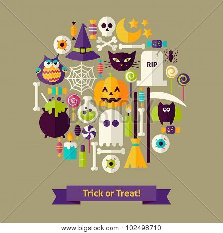 Vector Flat Style Trick Or Treat Halloween Objects Concept