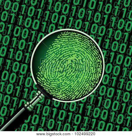 hacker binary code and fingerprint