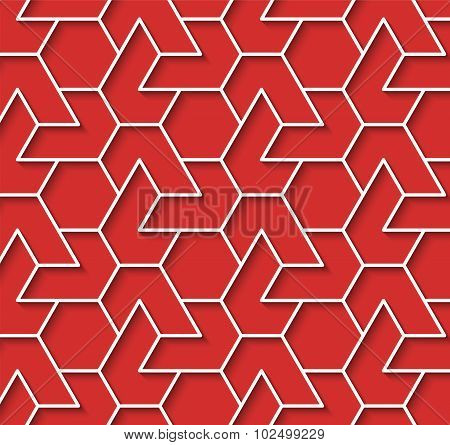 Geometric Red And White Background With Outline Extrude Effect