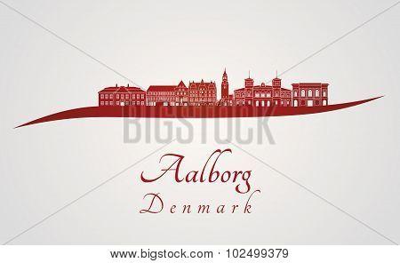 Aalborg Skyline In Red