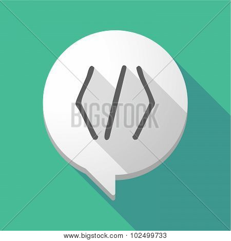 Long Shadow Comic Balloon With A Code Sign