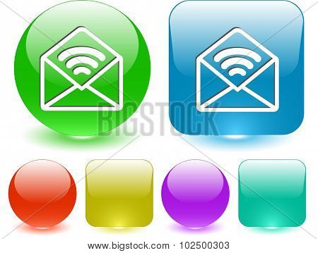 open mail with sound. Vector interface element.