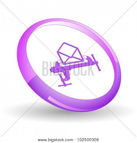 open mail with clamp. Vector icon.