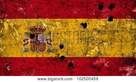 Flag of Spain, Spanish Flag painted on metal texture with bullet holes