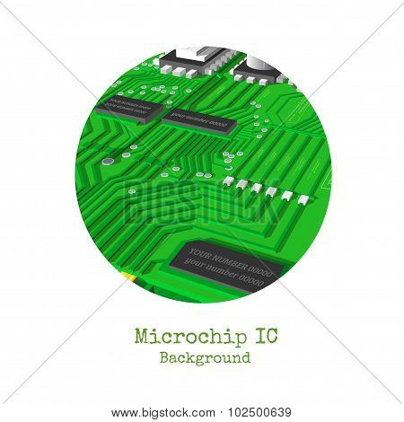 realistic 3d microchip round frame isolated on white