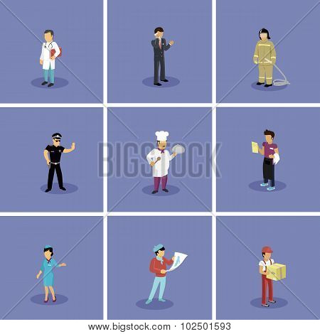 Set of Characters Popular Professions