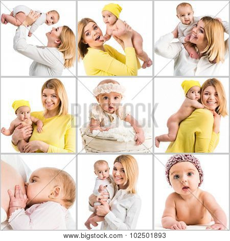 collage of beautiful blonde mother and cute baby on a white background