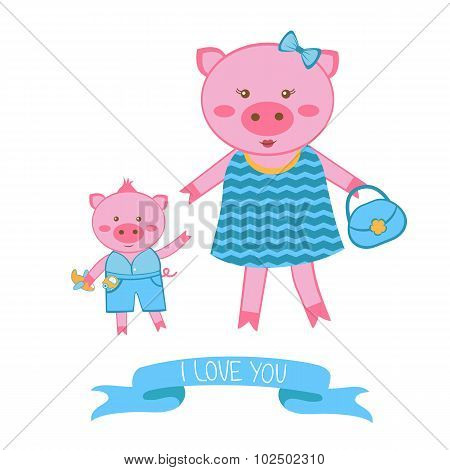 Illustration of mother pig and piglet