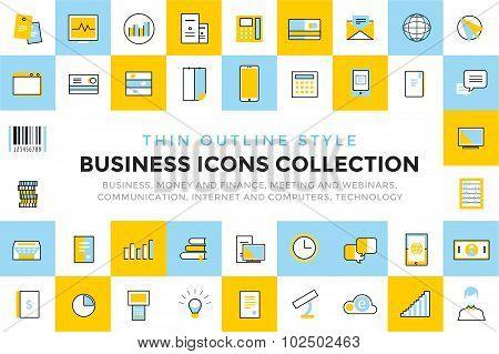 Business vector icons set bundle. Communication
