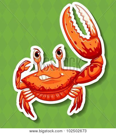 Wild crab with big claw illustration