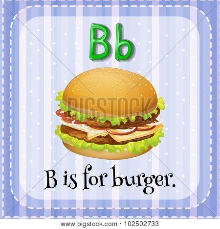 Flashcard letter B is for burger illustration