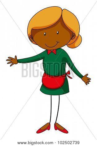 Waitress wearing red apron illustration