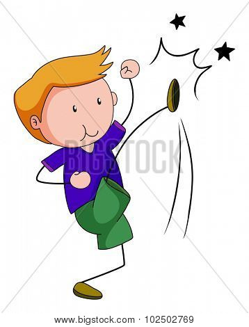 Little boy punching and kicking illustration
