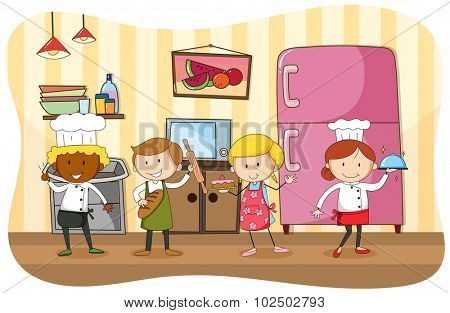 Bakers and chef working in the kitchen illustration