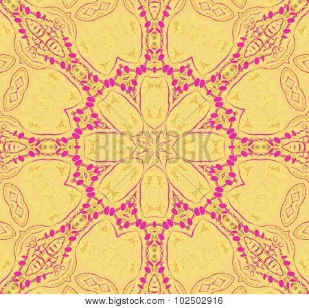 Seamless floral pattern yellow pink