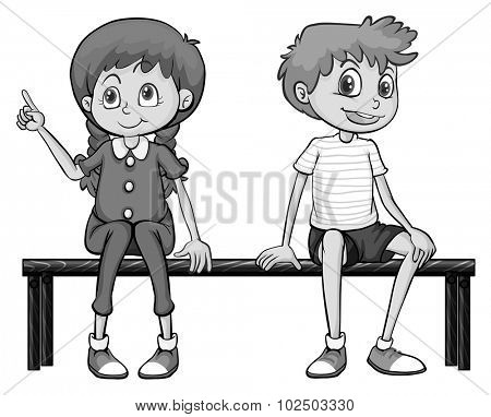 Girl and boy sitting on a bench illustration