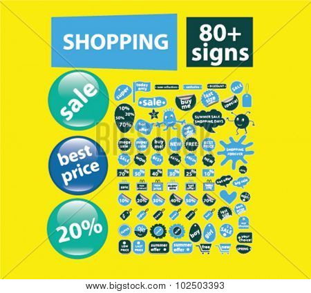 shopping, sales stickers