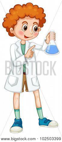 Boy in white coat holding beaker illustration