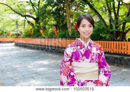 Woman with kimono dress in Gion Kyoto
