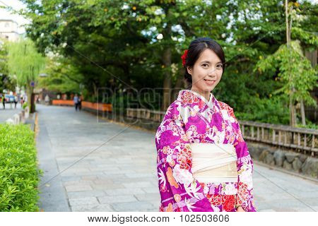 Japanese woman with kimono in Gion Kyoto