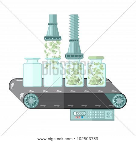 flat saving bank note machine.Machine for closing of money in the bank.concept illustration