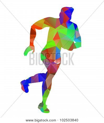 Triangle Low Polygon Style Rugby Player