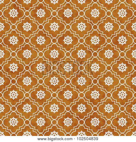 Orange And White Wheel Of Dharma Symbol Tile Pattern Repeat Background