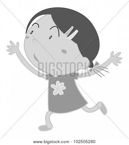 Girl with jumping action on white	 illustration