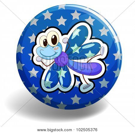 Blue dragonfly on round badge illustration