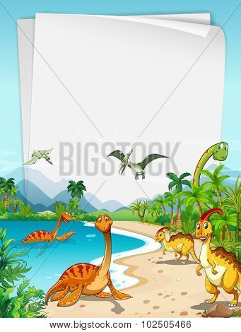 Dinosaurs at the ocean illustration