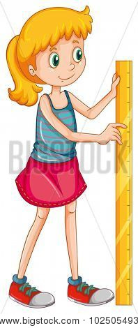 Girl measuring height with a ruler illustration