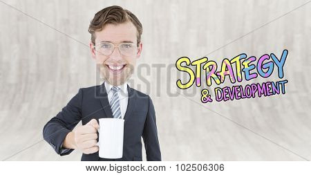 Geeky businessman holding mug against curved wooden room