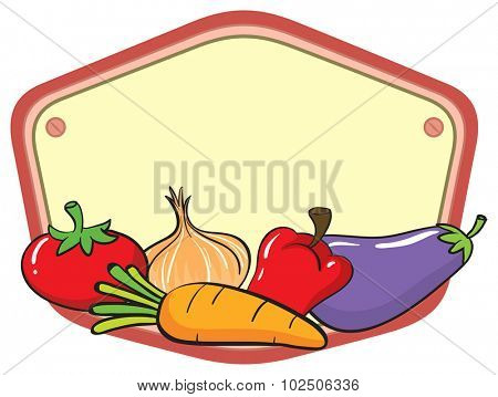 Many vegetables on empty sign illustration