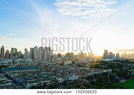 Sunshine Morning Time And Transportation In Bangkok City Thailand