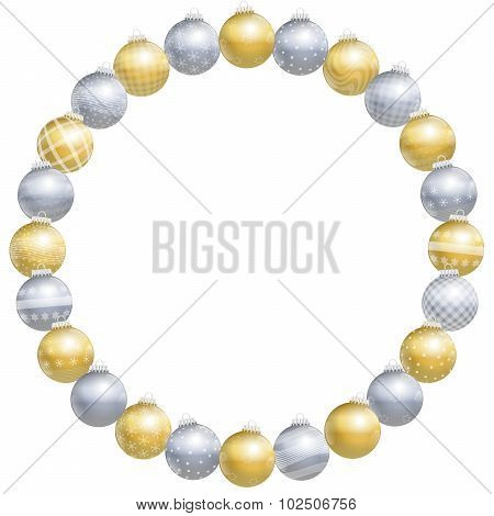 Round Frame Christmas Balls Gold Silver