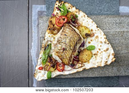 Codfish Filet with Vegetable on Yufka Bread