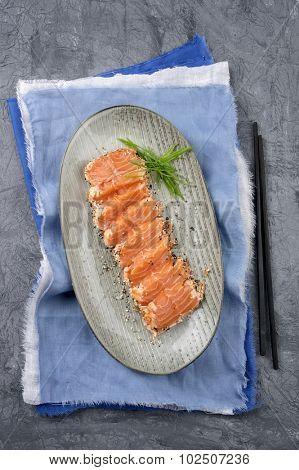 Salmon Tataki on Plate