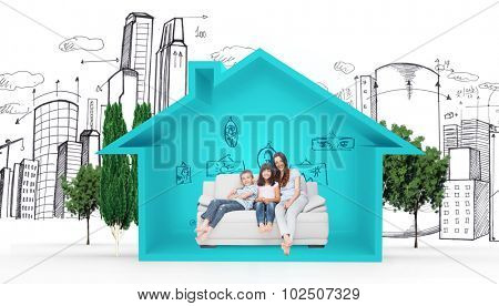 Mother with their children sitting on sofa against house shape with living room sketch