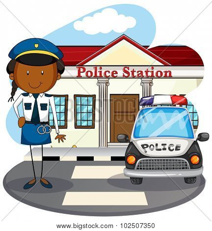 Police officer working at police station illustration