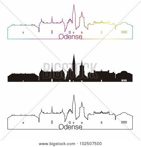 Odense Skyline Linear Style With Rainbow