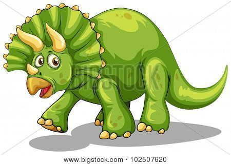 Green dinosaur with horns illustration