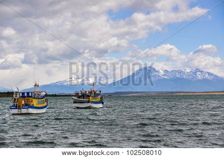 Boats In Puerto Natales, Patagonia, Chile