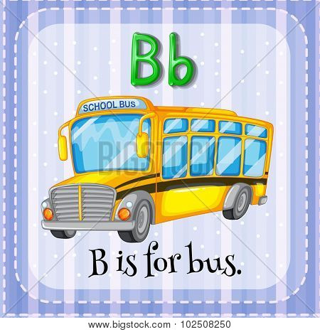 Flashcard letter B is for bus illustration