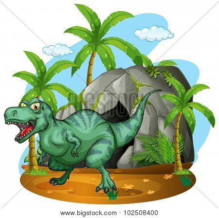T-Rex living in the cave illustration