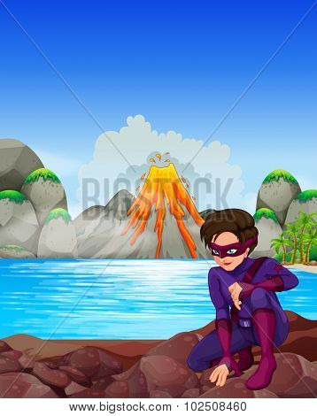 Superhero at the lake  illustration