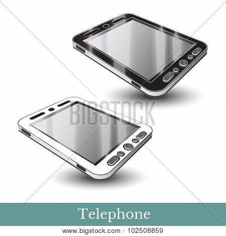 realistic Smartphone phone gadget black and white isolated